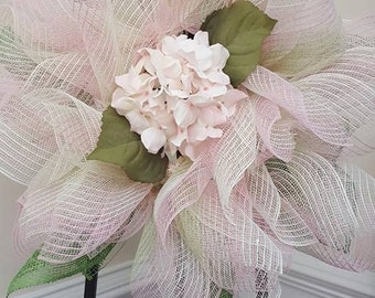 Hydrangea wreath of pale pinks, greens and white