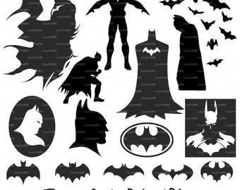 Batman Superhero Silhouettes (svg, eps, dxf, ai, jpg, png) comics super hero vinyl decal digital Siluetas Clip Art Cut for Silhouette Cricut