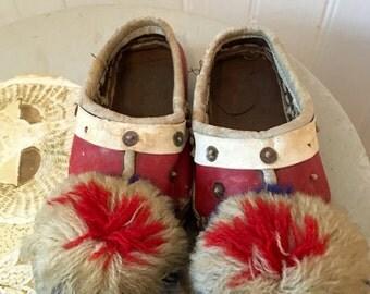 Beautiful pair of antique children's Opanke Tsarouhi (Greek) moccasin shoes - size 5