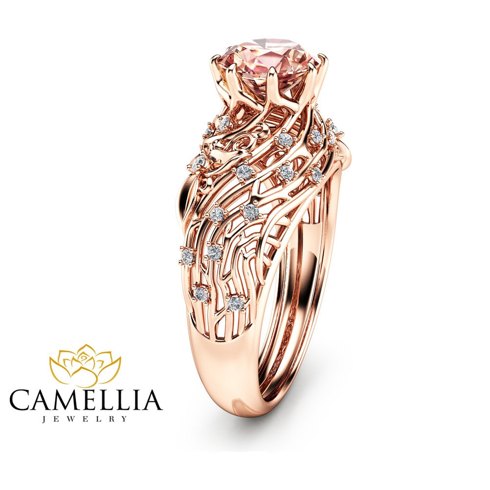 14k Rose Gold Morganite Engagement Ring Unique Filigree Design