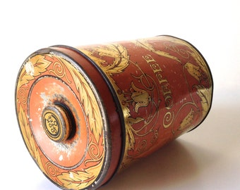 Art Deco Coffee Tin From The 1920's Made By Tindeco and Sunlite - Orange With Gold Leaves
