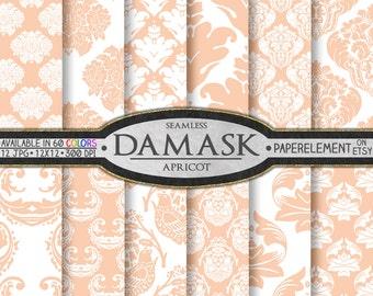 Peach Digital Paper: Peach Damask Digital Paper with Peach Background Patterns - Apricot Damask Scrapbook Paper