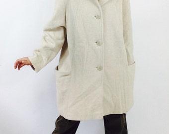 Vintage wool coat vintage swing coat wool swing coat vintage cream coat vintage cream wool coat Womens coat size medium white winter coat M