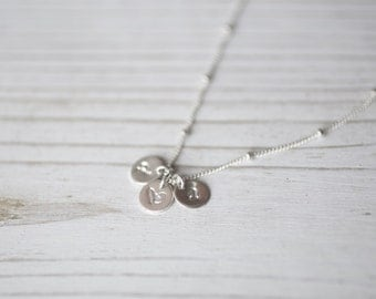 Sterling Silver Hand Stamped Personalized, Mommy Necklace Hand Stamped Personalized, Initial Necklace