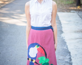 Vintage Toucan and Mice Wrap Skirt