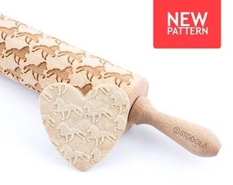 Islandpferd im Tölt - geprägt, graviert Nudelholz für cookies