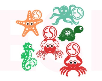 Sea Creatures svg, monogram set Crab, Octopus, Turtle, Starfish, Seahorse,  SVG, DXF, EPS, use with Silhouette and Cricut Explore Machines.