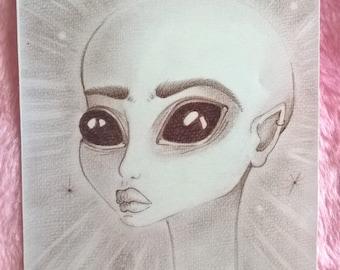 SALE!! -- 2 left -- Ancient Egypt Alien Queen Art Print
