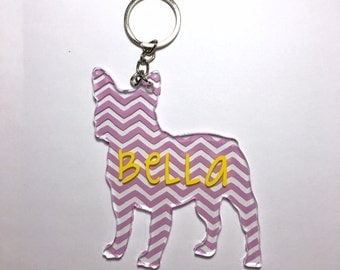 Custom Acrylic Chevron French Bulldog / Boston Terrier Keychain with Hardware - Perfect for Frenchie Lovers!
