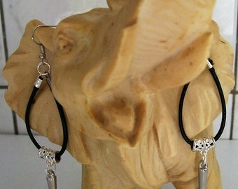 Black dangling earrings with silver spikes, long earrings, black and Silver earrings