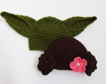Yoda Hat Princess Leia Hat, Star Wars inspired twin hats, Boy Girl Twins Hats, Hats for Twins, Twin Baby Gift Star Wars gift Star Wars twins