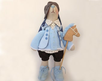 "Stuffed bunny doll Ryan Fabric animal Rabbit soft toy OOAK doll art 18"" 46cm Birthday gift for boy toy big Cloth doll Home decor Room blue"