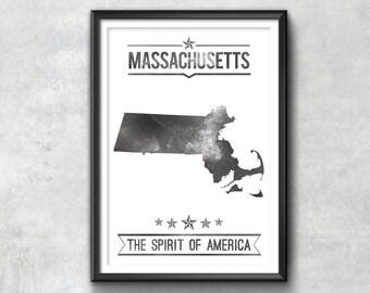MASSACHUSETTS State Typography Print, Typography Poster, Massachusetts Poster, Massachusetts Art, Massachusetts Gift, Massachusetts Decor