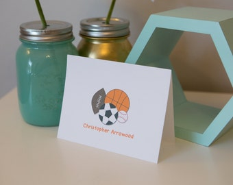 Personalized Sport Stationery Set - Boy Stationery - Boy Notecards - Sport Notecards - Thank You Notes