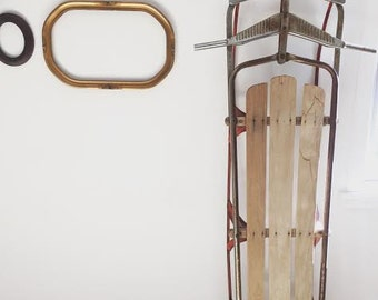 Vintage Wooden & Metal Sled - 2 Person Snow Sled - Long Sled