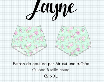 """PDF, """"Jayne"""" lingerie sewing pattern, panties size high retro style, XS to XL, in french"""
