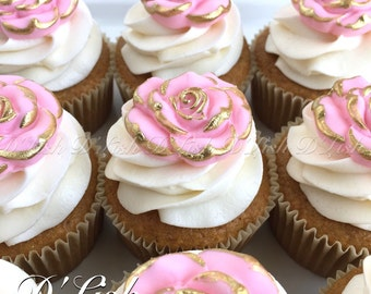 Rose Cupcake Toppers (12)