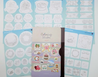 5 page DIY Korean coloring Anniversary & Celebration series sticker set! Planner label adult coloring stickers - holiday - birthday party