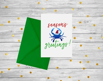 """PRINTABLE Holiday Card with Blue Crab / """"Season's Greetings"""" / Instant Download"""