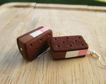 Ice Cream Sandwich Earrings, Neapolitan Miniature Food Earrings, Handmade