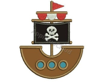 Pirate Ship applique design ~ Pirate Ship applique pattern ~ INSTANT DOWNLOAD digital file