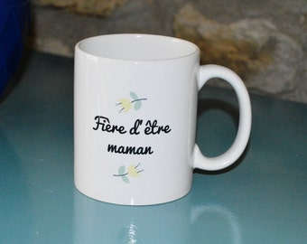 """The """"Proud to be a MOM"""" mug Cup gift mind vintage birthday mother's day flowers"""