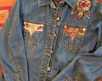 Vintage Floral Tapestry Denim Shirt