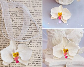 White Orchid Necklace, Bridal Jewelry, Bridesmaid Necklace, Orchid Jewelry, Bridesmaid Accessory, Bridal Shower