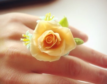 rose flower ring - floral jewelry - adjustable ring - artificial flowers