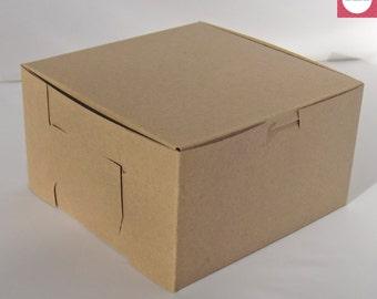 "Kraft Boxes 7x7x4"", Favor Boxes, Gift Boxes, Cupcake Boxes, Set of 20."