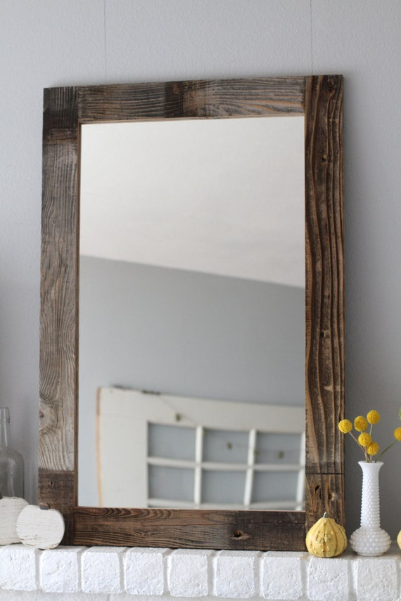 Awesome Reclaimed Wood Mirror Bathroom Mirror Brown W By KennethDante