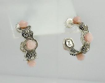Silver Hoop Earrings - Pink Rose Earrings - Sterling Filigree Hoop Earrings - Pink & Silver Earrings - Rose Earrings - Filigree Silver Hoops