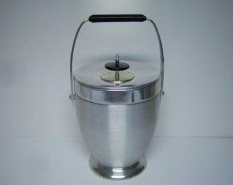 """Vintage Kromex Ice Bucket, Brushes Aluminum and Chrome, 10.5"""" Tall, Picnic and Cook Out Supply, Pattent Pending, Enduringly Beautiful"""