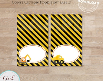 Construction food labels, Construction table tents, Construction  Decoration, Dump Truck Food label, INSTANT DOWNLOAD