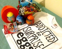 Kids Funny T-shirt With Name And Mega Surprise Egg Filled With 3 Surprise Bags, 3 Surprise Eggs & Treats, YouTube Video Birthday Kids Gift