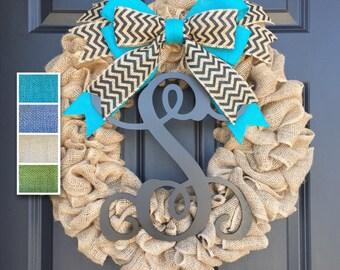 Initial Burlap Wreath,Monogram Chevron Wreath,Front Door Wreath,Housewarming Gift,Year Round Wreath,Spring Summer Wreath, Door Hanger