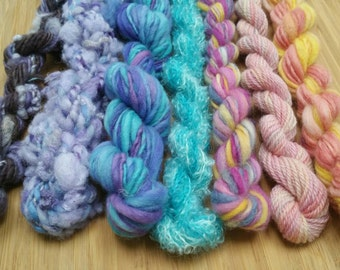 Wallflower Yarn Pack #4 / Handspun Yarn / Weaving Kit / Hand dyed Yarns