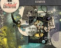 Digital scrapbook elements, digital download elements, art journaling, card making, vintage space, vintage ephemera, Jules Verne, steampunk
