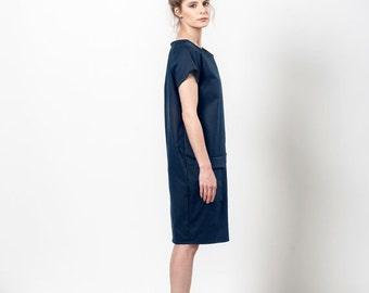 SALE 25% OFF Dark Blue Dress, Navy Dress With Pockets, Midnight Blue Dress, Blue Pocket Dress, Midi Dress With Pockets, Placket Dress, Th...