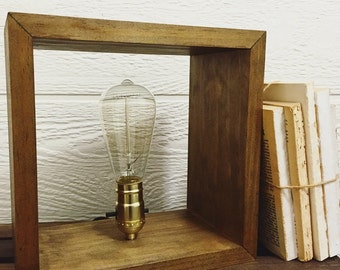 Handcrafted Edison Bulb Wood Shadowbox