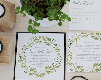 Wedding Invitation Suite, Watercolour Spring Green Wreath - 3 Piece Invitation Suite