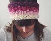 Knit Winter Headband Earwarmer Fair Isle Ombré Chunky | PINK + PURPLE | Made to Order