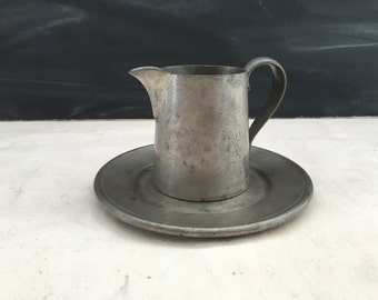 Vintage Pewter Creamer Pitcher with Dish - L. H. Vaughan Pewter - Pewter Display - Collectible
