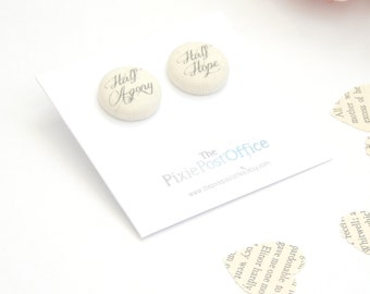 Jane Austen earrings 'Half agony, half hope' quote, Jane Austen quote, Jane Austen jewellery, Jane Austen Jewelry