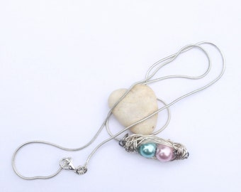 Two peas in a pod necklace - New mom's gift - Delivery present - Wire wrapped peas in a pod - Baby shower gift.