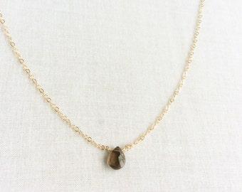 Smoky Quartz Necklace - Smokey Quartz Necklace - Smoky Quartz Jewelry - Dainty Quartz Necklace - Quartz Necklace  14k Smoky Quartz Necklace