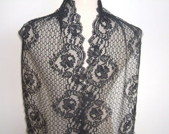"RESERVED  3 yards black  french lace trim (N63)/ 10"" wide stretch lace trim by the yard"