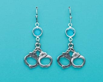 Handcuffs Earrings, Hand Cuffs Earrings, Aqua Crystal Earrings, Dangle Earrings, Gifts for Her, 175