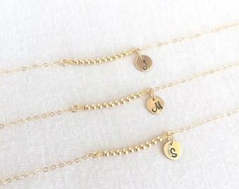 Flower Girl Bracelet, Little Girl Bracelet, Gold Silver Beaded, Initial Disc, Bridesmaid Bracelet, Dainty Bracelet, Children Bracelet