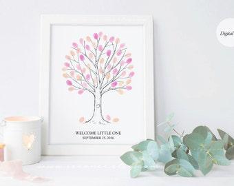 Fingerprint tree guestbook -DIGITAL FILE - Thumbprint tree alternative - Family tree - birthday - wedding - bridal shower - baby shower gift
